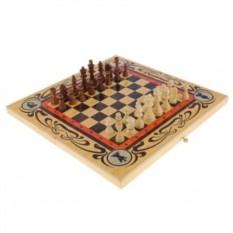 Подарочный набор игр Шахматы-нарды-шашки с доской Статус