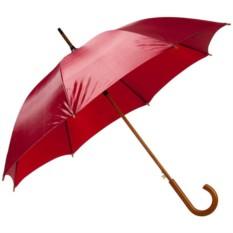 Бордовый зонт-трость с деревянной ручкой