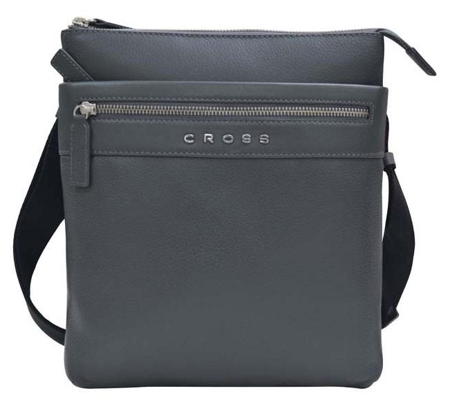 Наплечная тонкая серая сумка Cross Nueva