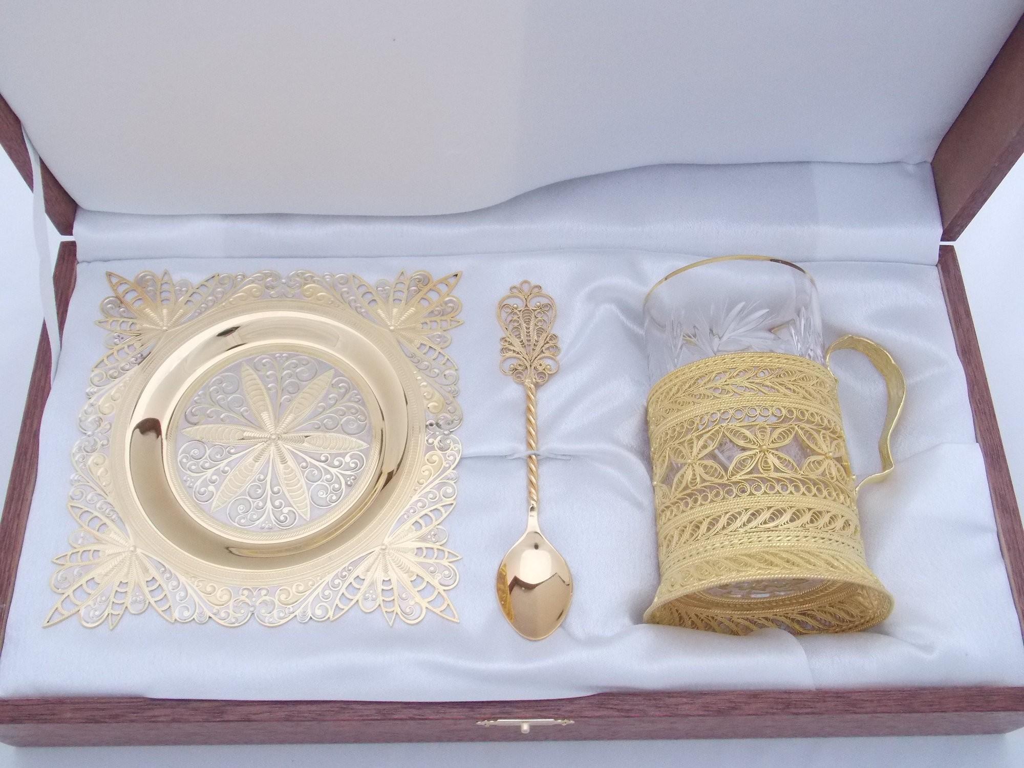 Чайный набор с золочением Кристалл