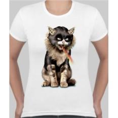 Женская футболка Кот, молнии