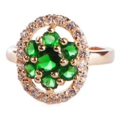 Позолоченное кольцо с зелёным цирконом