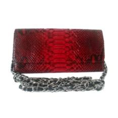 Красный клатч-кошелек из кожи питона