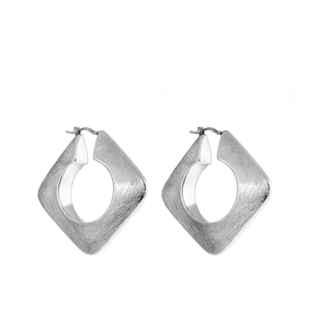 Квадратные серьги с царапинами  из серебра