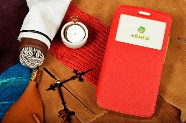 Красный чехол для iPhone 6S / 6 с окошком и застежкой