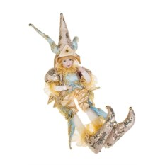 Музыкально-двигающееся золотисто-голубой украшение Арлекин