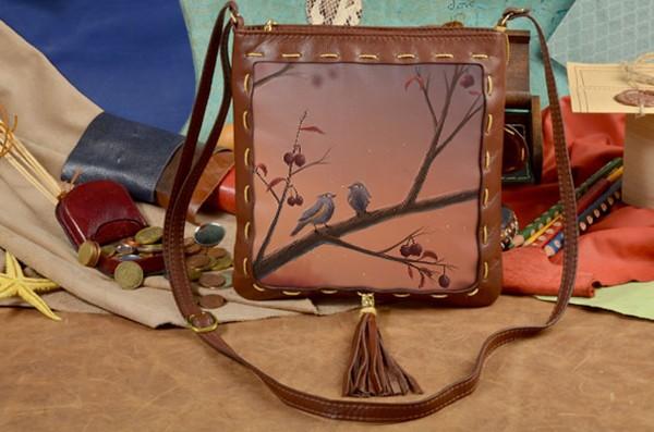 Женская сумка-планшет с принтом Две птички