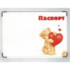 Обложка на паспорт из кожи Мишка с сердечком