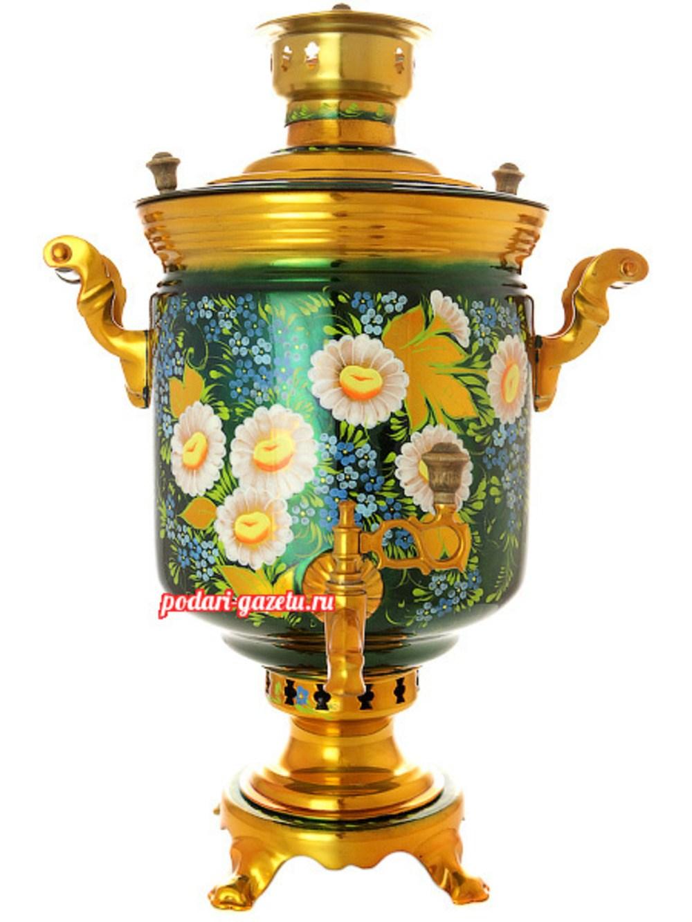 Тульский угольный самовар (жаровый, дровяной) на 7 литров цилиндр с художественной росписью Ромашки на зеленом фоне