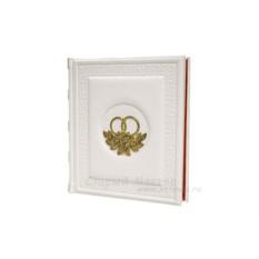 Кожаный свадебный фотоальбом «Обручальные кольца»