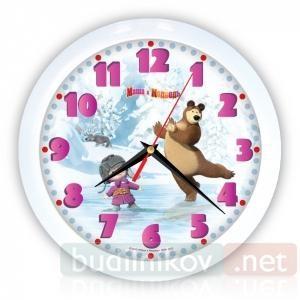 Детские настенные часы Маша и Медведь.Зима