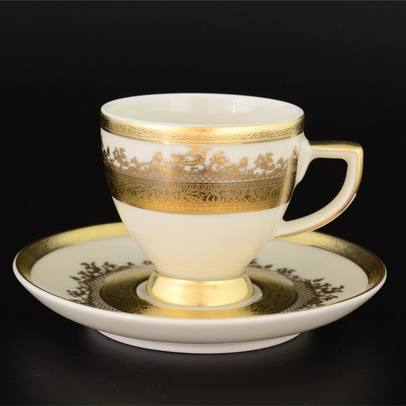 Набор из 6 кофейных пар на 110 мл Crem Gold