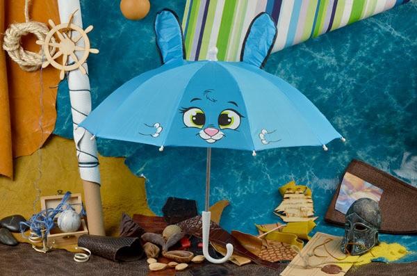 Детский голубой зонт Eclat Зайка с ушками