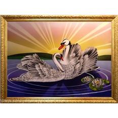 Картина с кристаллами Swarovski Лебединый рассвет