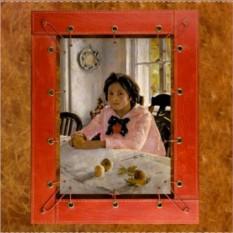 Картина из кожи Девочка с персиками В.Серов