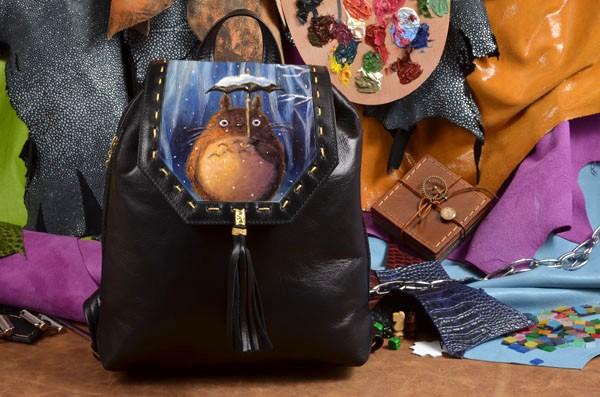 Необычный кожаный рюкзак с принтом Мой сосед Тоторо