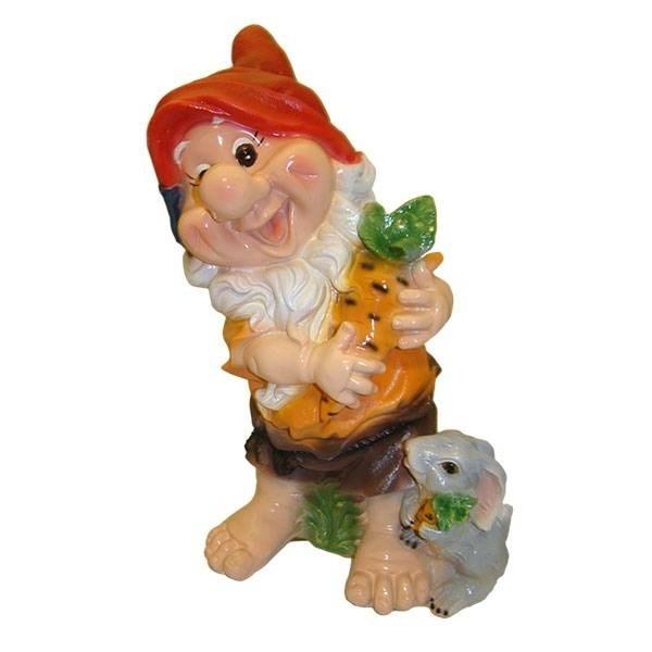 Декоративная садовая фигура Гном с зайчиком