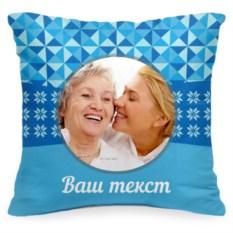 Подушка с вашим фото «Снежинки»