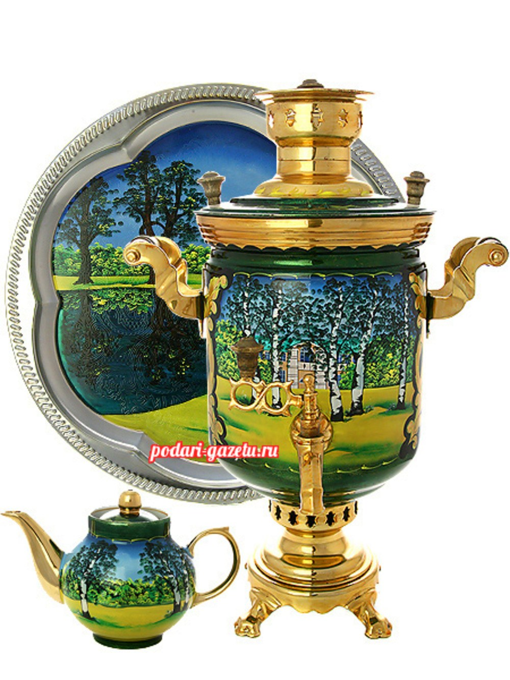 Набор: угольный самовар (жаровый, дровяной) на 5 литров цилиндр с художественной росписью Ясная поляна