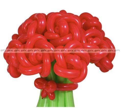 Розы красные средний букет из шаров - 11 штук