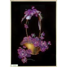 Картина с кристаллами Swarovski Корзина с фиалками