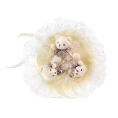 Букет с медвежатами Зефирки молочного цвета