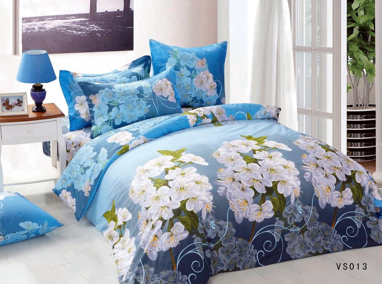 Евро комплект постельного белья, голубой с белыми цветами
