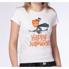 Женская футболка на halloween Тыква на метле