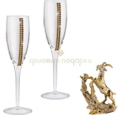 Набор для шампанского Коза в золоте