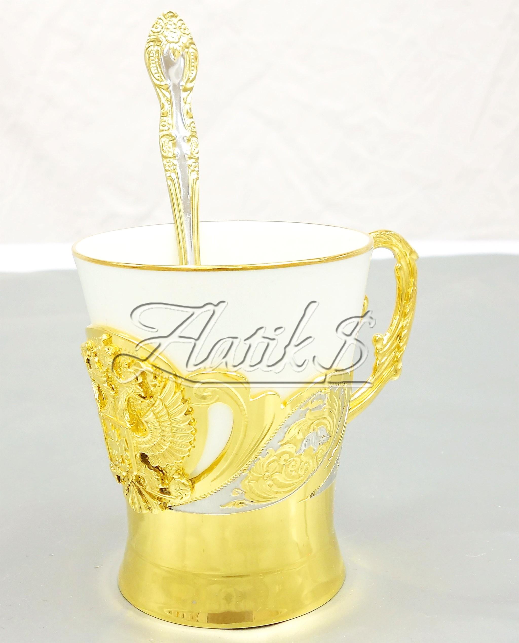 Кофейная чашка с позолотой Герб РФ