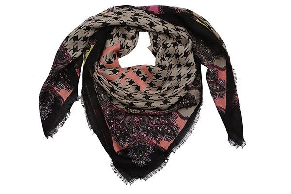 Бежевый женский платок Leo Ventoni (шелк/шерсть)