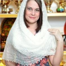 Оренбургский пуховый платок (цвет: белый, паутинка)