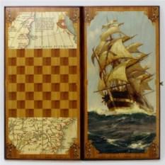 Малые нарды в деревянном коробе Морские