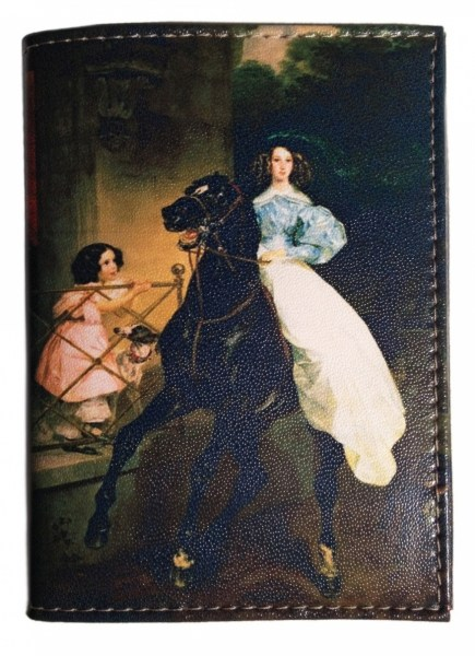 Кожаная обложка для паспорта Всадница