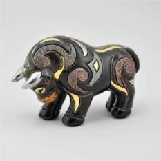 Керамическая статуэтка с позолотой Бык черный