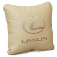 Бежевая подушка Lexus из искусственной кожи