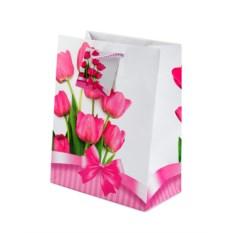 Бумажный ламинированный пакет Розовые тюльпаны