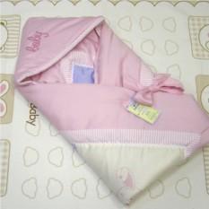 Розовое одеяло-конверт из сатина с вышивкой