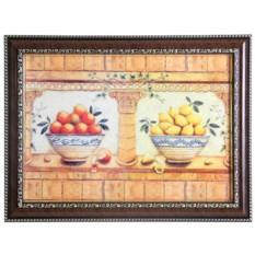 Панно-декупаж в большой коричневой раме Апельсины и лимоны