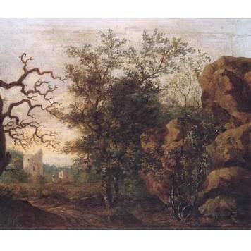 Репродукция картины Пейзаж с засохшим деревом