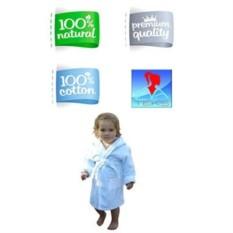 Голубой детский махровый халат Дорогуша