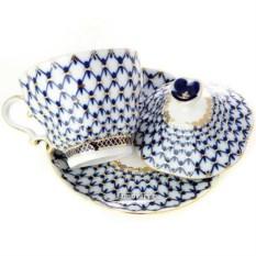 Чашка с крышечкой и блюдцем Кобальтовая сетка