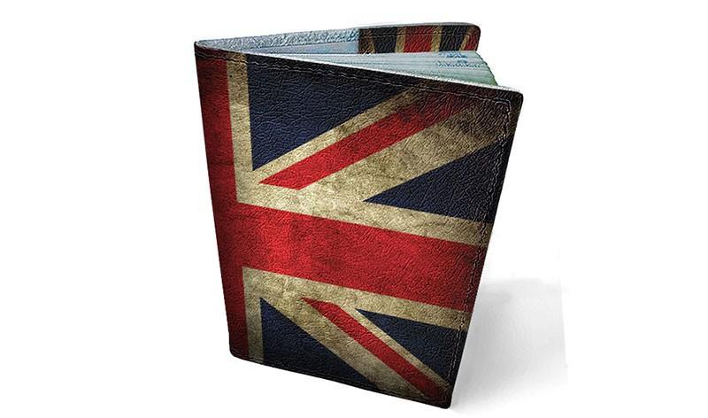 Обложка паспорт кожа Британский флаг