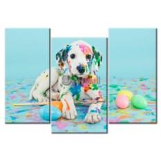 Модульная картина «Разноцветный далматинец» 65×46 см