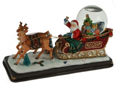Новогодняя композиция с водяным шаром Сани Деда Мороза