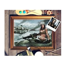 Портрет по фото Девушка в танке