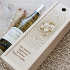 Коробка для вина с гравировкой Мама лучше всех