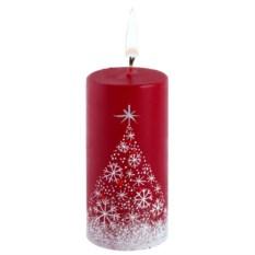 Свеча ручной работы «Снежный лес» в форме цилиндра