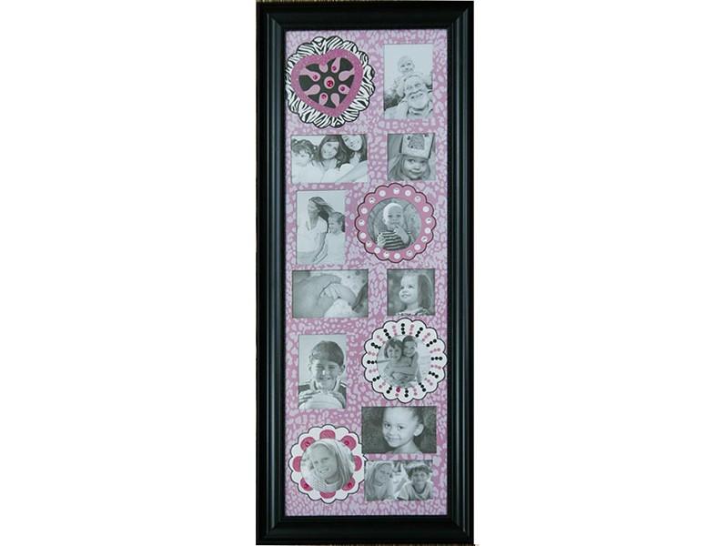 Фоторамка-коллаж в оттенках розового на 12 фотографий