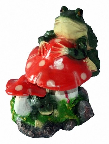 Садовая фигура Лягушка на грибах